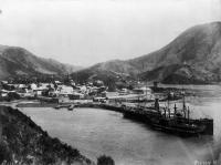 Overlooking Picton township, showing the ships Edwin Fox and Maori