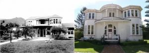 Duncan House in 1941 and today at Founders Park